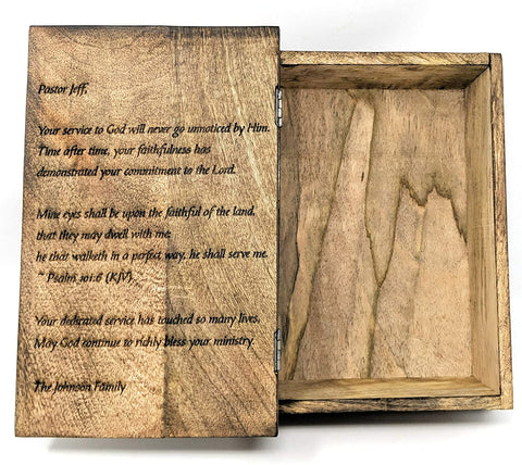 Image of Decorative Wooden Bible Box with Hinged Lid | Hand Carved Wooden Cross Design | Great for Storage or as a Memory Box - Farmhouse World