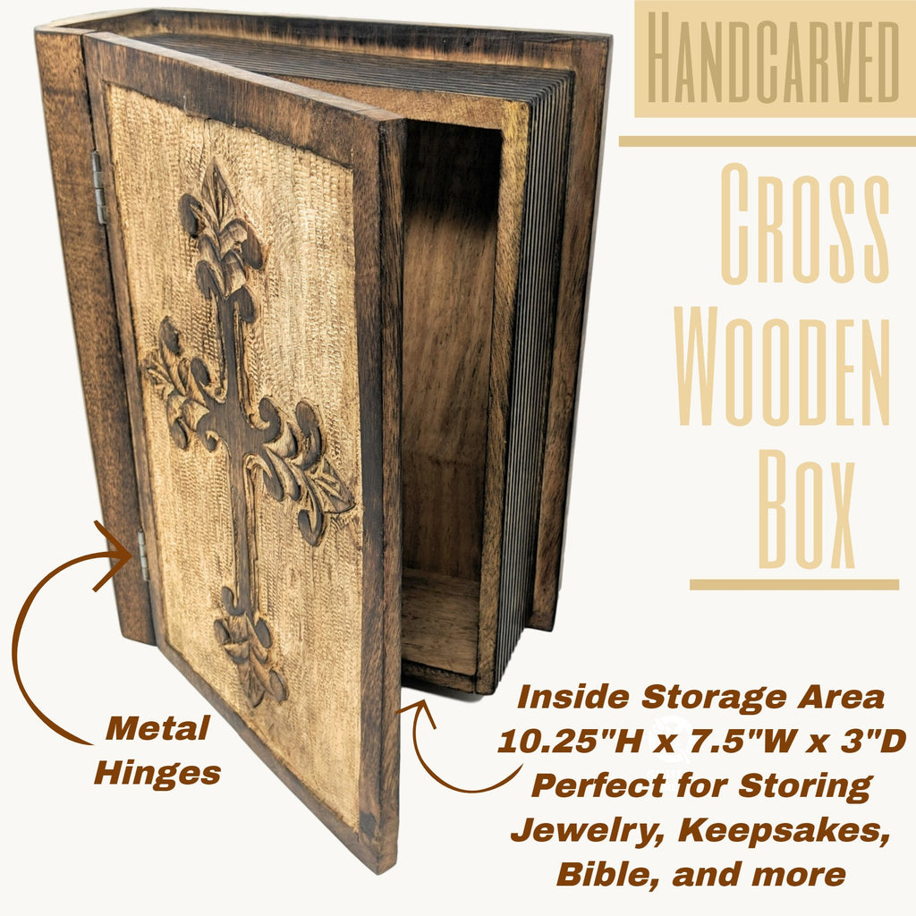 Decorative Wooden Bible Box With Hinged Lid Cross Design Pastor Gift