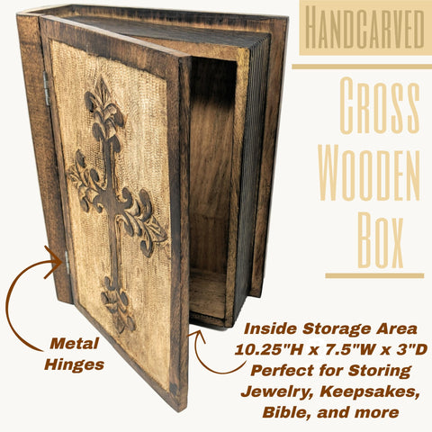 Image of Decorative Wooden Box with Hinged Lid | Hand Carved Wooden Cross Design | Great for Storage or as a Memory Box - Farmhouse World
