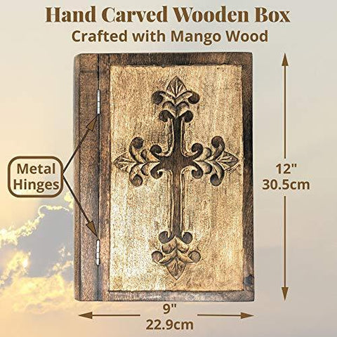 Decorative Wooden Box with Hinged Lid | Hand Carved Wooden Cross Design | Great for Storage or as a Memory Box - Farmhouse World