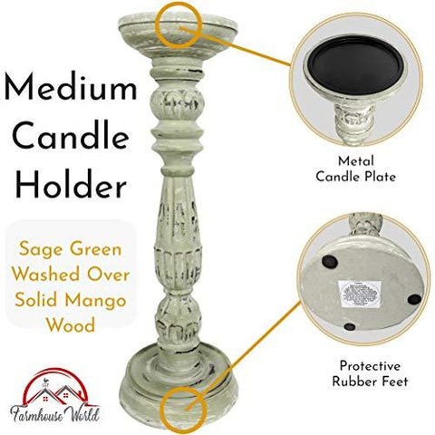 Farmhouse Candle Holders Set of 3 - Wooden Candle Holders with Distressed Finish for a Vintage Antique Decor Look - Each Rustic Decorative Pillar Candle Holder is Hand-Carved - Farmhouse World