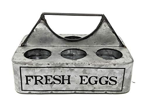 "Farmhouse Decor ""Fresh Eggs"" Vintage Egg Holder Caddy 