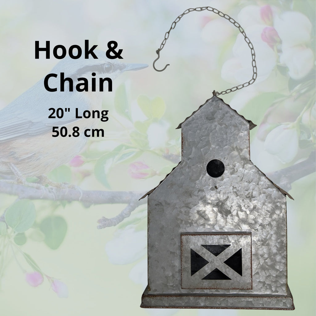 Farmhouse Metal Hanging Bird House for Outdoor Hanging or Indoor Decor - Country Barn Birdhouse Decorr - Farmhouse World
