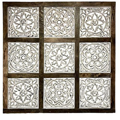 Farmhouse World Abstract Panel Wooden Wall Art Decor Hand-Carved Mandala Décor for Your Home or Office, Carved by Artisans from Sustainable Wood, 9, 5, 3 Panels - Farmhouse World