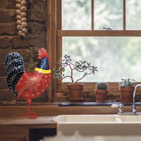 Farmhouse World Red Bandana Metal Chicken/Rooster Decor Statue Handcrafted by Metal Artisans - Farmhouse World