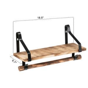 Floating Shelf Wall Shelf with Rustic Wood - Kitchen Spice Rack with Towel Bar and 8 Removable Hooks for Organize Cooking Utensils or Mugs - Farmhouse World