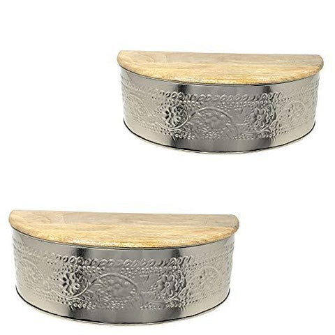 Floral Embossed Metal Floating Wall Shelves with Hidden Compartment and Solid Natural Mango Wood Tops - Farmhouse World