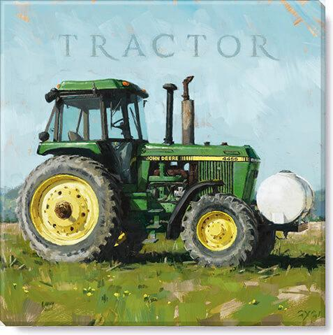 "Green Tractor Gallery Wrapped Canvas Art - 5"" to 48"" Sizes - Farmhouse World"