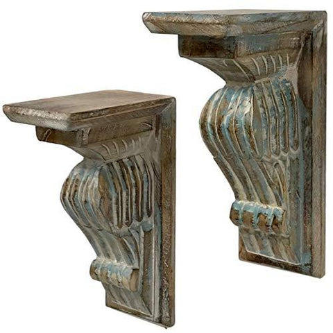 Image of Hand-Carved Wood Corbels in Farmhouse Rustic Look - Set of 2 | Use as Wooden Shelf Brackets or Decorative Bookends - Farmhouse World