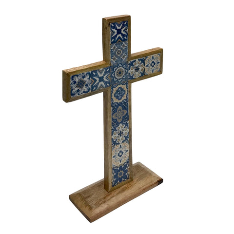 Image of Hand-Painted Inlaid Ceramic Tile Table Cross set in Mango Wood - Farmhouse World