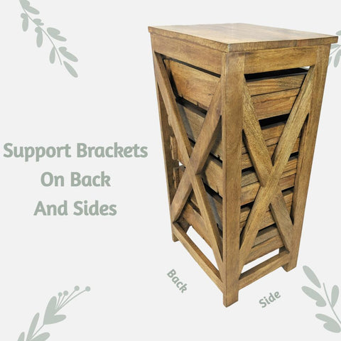 Herb Drying Rack / Vegetable Storage Bin Table for Kitchen -Beautiful Solid Mango Wood 5 Sliding Drawers - Farmhouse World