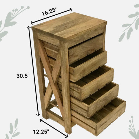 Image of Herb Drying Rack / Vegetable Storage Bin Table for Kitchen -Beautiful Solid Mango Wood 5 Sliding Drawers - Farmhouse World