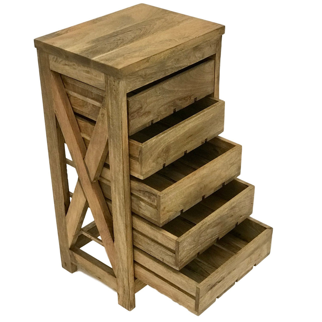Herb Drying / Vegetable Storage Rack Table for Kitchen -Beautiful Solid Mango Wood 5 Sliding Drawers - Farmhouse World