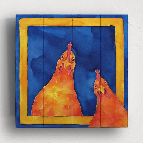 Image of Hoping for a Handout Rooster Wall Art | Rooster Painting on Wood - Farmhouse World