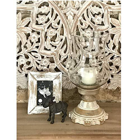 Image of Hurricane Lantern Candle Holder with Glass Globe and Hand-Carved Wooden Pillar Candle Holder - Farmhouse World