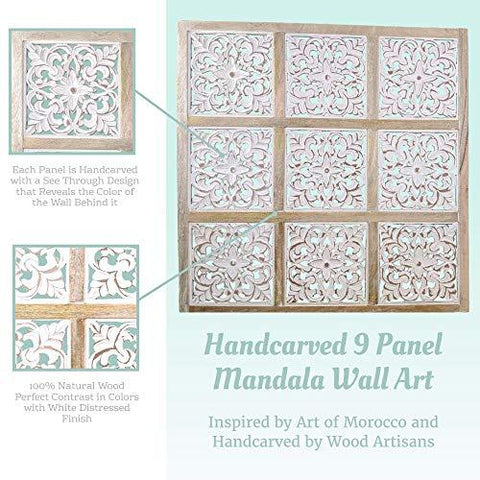 Mandala Wall Art – Hand-Carved Wall Decor Plaques – Wood Mandala Design Inspired by Moroccan Artist – Unique Boho Wall Art Sustainable Materials - Farmhouse World