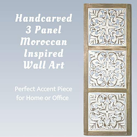 Image of Mandala Wall Art – Hand-Carved Wall Decor Plaques – Wood Mandala Design Inspired by Moroccan Artist – Unique Boho Wall Art Sustainable Materials - Farmhouse World