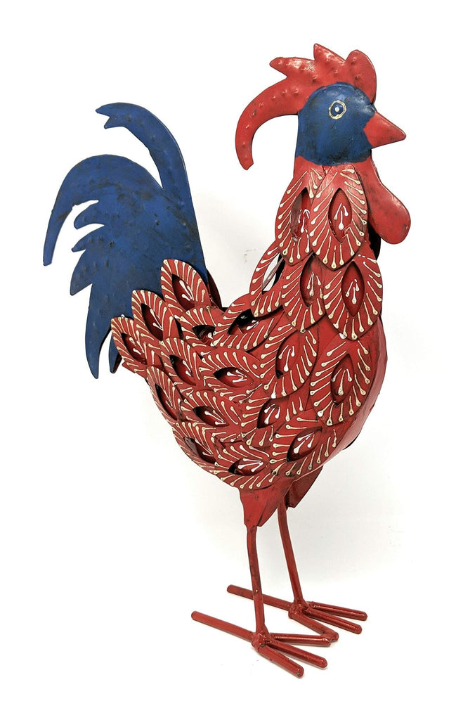 Metal Rooster Decor Handcrafted by Metal Artisans - Ruffled Feathers Bandana Chicken Decor - Farmhouse World