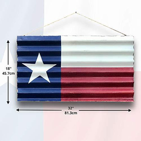 Image of Metal Texas Decor | Metal Texas Flag Painted on Corrugated Metal for Indoor or Outdoor Use - Farmhouse World