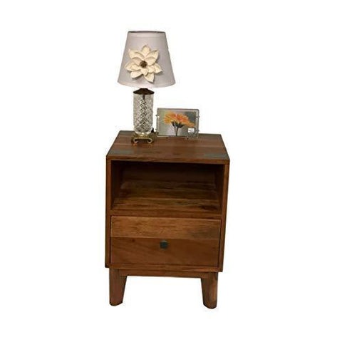 Image of Mid-Century Rustic End Table Made from Solid Acacia Wood for Home and Office - Farmhouse World