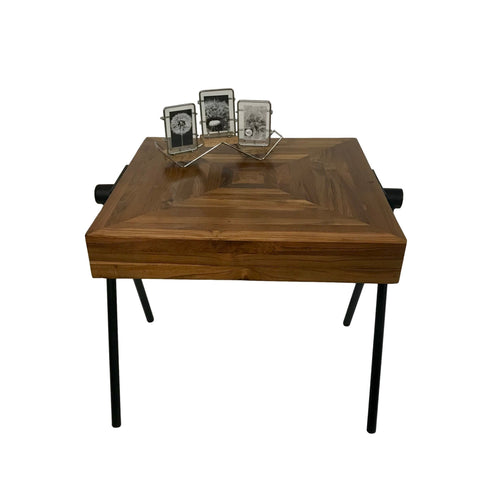 Image of Mid-Century Sawhorse Table in Farmhouse Style Made from Solid Acacia Wood for Home and Office - Farmhouse World
