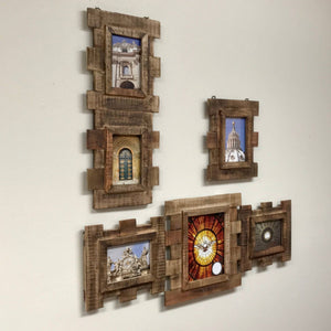 Reclaimed Eucalyptus Wood 3 Piece Wall Photo Frame Collage - Vintage Stained Finish