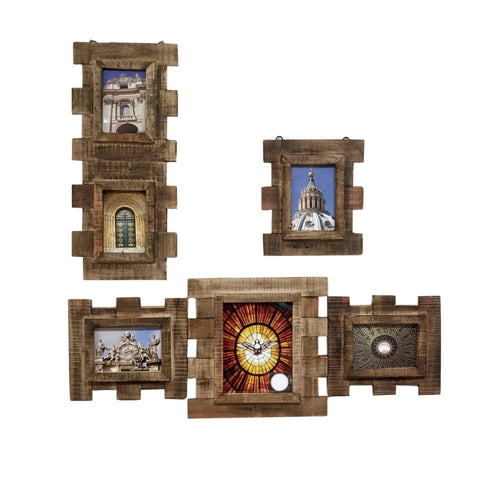 Image of Reclaimed Eucalyptus Wood 3 Piece Wall Photo Frame Collage - Vintage Stained Finish