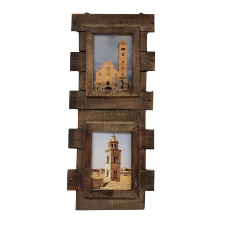 Image of Reclaimed Wood Double 5x7 Wall Photo Frame - Vintage Stained Finish - Farmhouse World