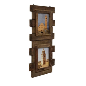 Reclaimed Wood Double 5x7 Wall Photo Frame - Vintage Stained Finish - Farmhouse World