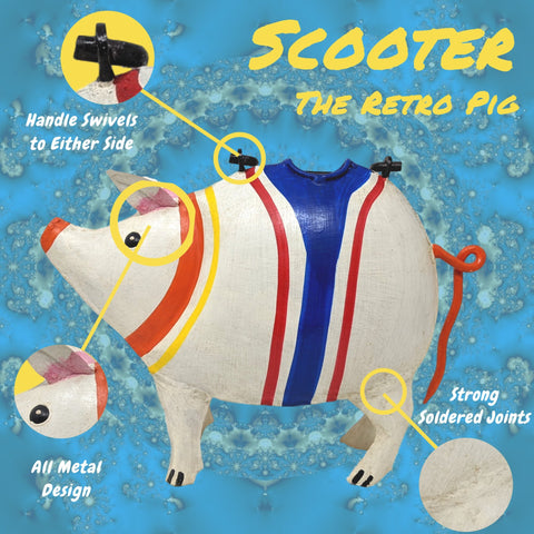 Image of Retro Scooter Pig Watering Can for Indoor or Outdoor Use - Farmhouse World