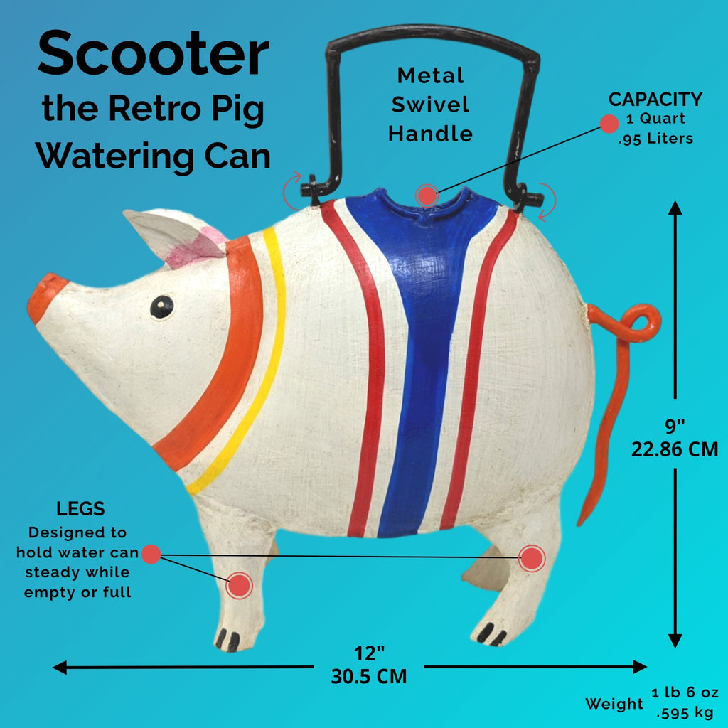 Retro Scooter Pig Watering Can for Indoor or Outdoor Use - Farmhouse World