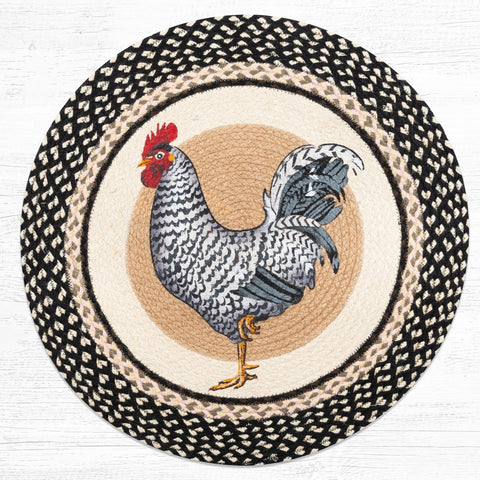 "Rooster Round Rug Handwoven with 100% Natural Jute and Hand Stenciled 27"" - Farmhouse World"