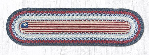 Rustic Flag Braided Oval Table Runner - 100% Natural Jute and Hand Stenciled - Farmhouse World