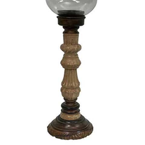 Rustic Hurricane Lantern Candle Holder with Glass Globe and Hand-Carved Wooden Pillar Candle Holder - Farmhouse World
