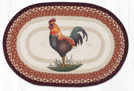Rustic Rooster Braided Oval Rug - Handwoven with 100% Natural Jute and Hand-Stenciled - Farmhouse World