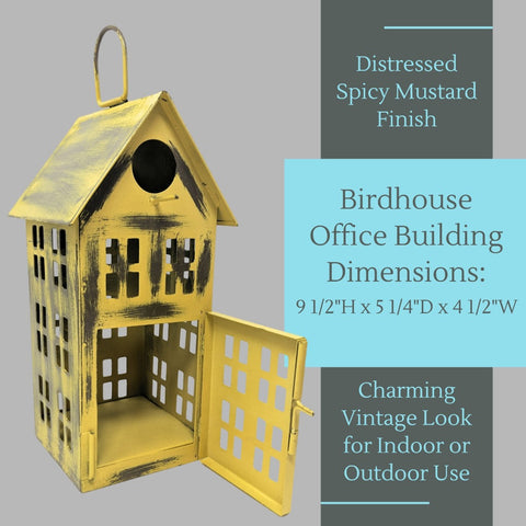 Image of Metal Bird House Decor | Decorative Bird Houses for Indoor or Outdoor Hanging | Farmhouse Country Decor BirdHouses