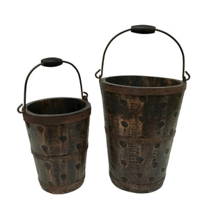 Solid Wood Firehouse Buckets - Set of 2 - Farmhouse World