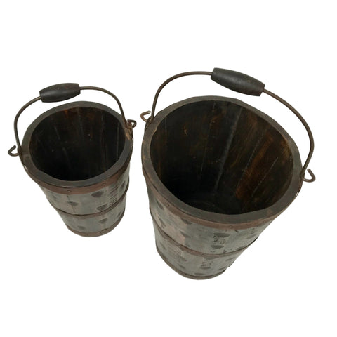 Image of Solid Wood Firehouse Buckets - Set of 2 - Farmhouse World