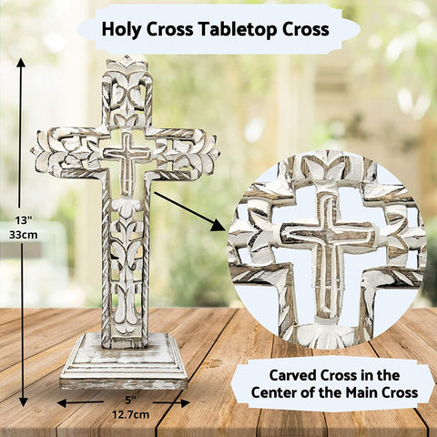 Image of Standing Crosses for Table Decor | Handcarved Wood Cross Perfect for Christian Home Decor - Farmhouse World