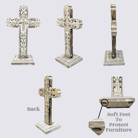 Standing Crosses for Table Decor | Handcarved Wood Cross Perfect for Christian Home Decor - Farmhouse World
