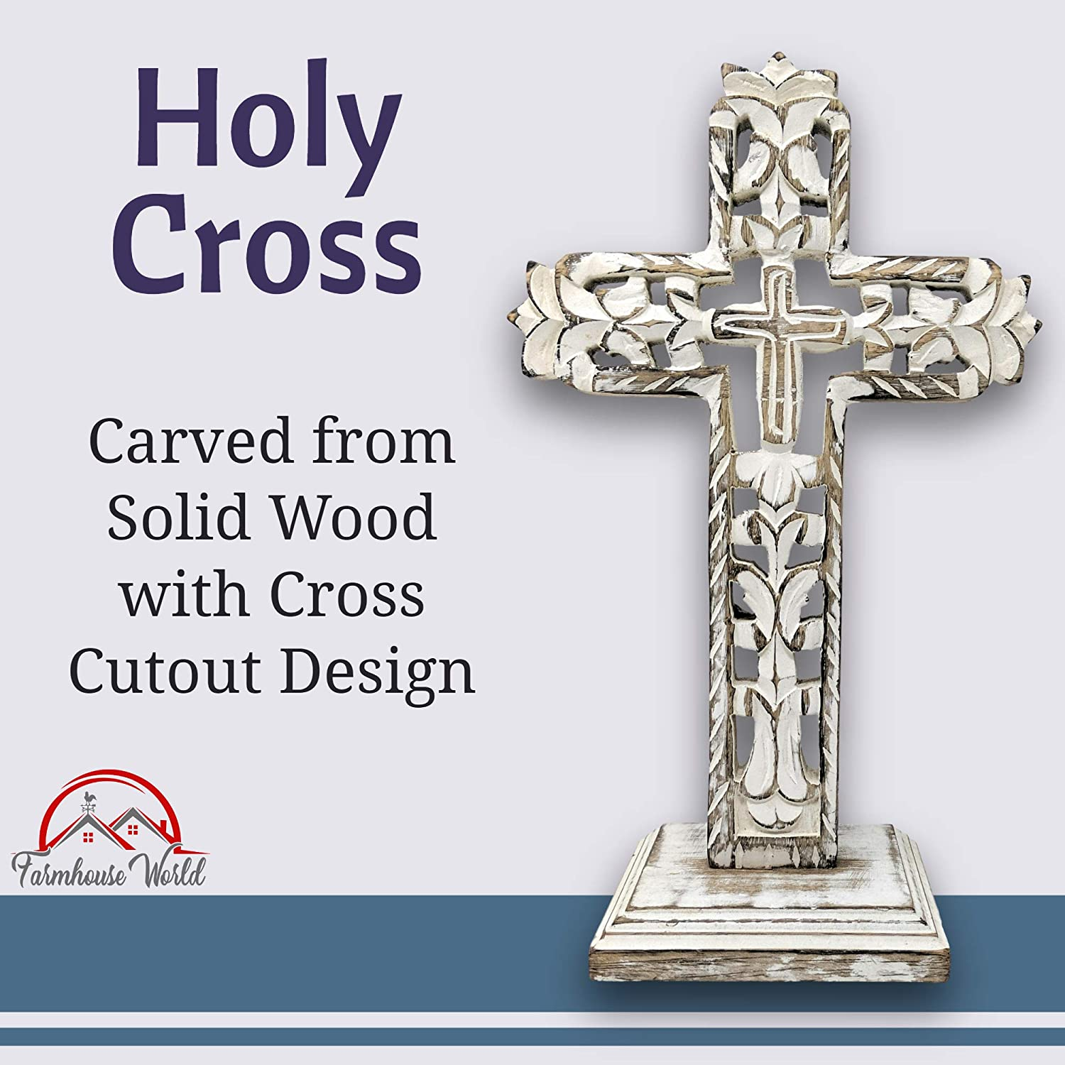 Standing Crosses Table Decor Handcarved Wood Cross Home Decor