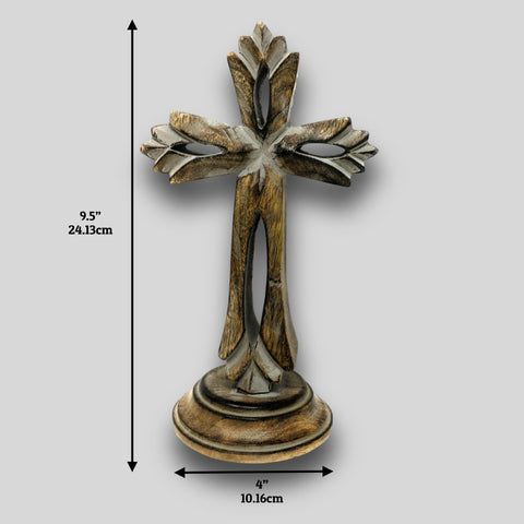 Image of Standing Crosses for Table Decor | Handcarved Wood Cross | Religious / Christian Home Decor - Farmhouse World