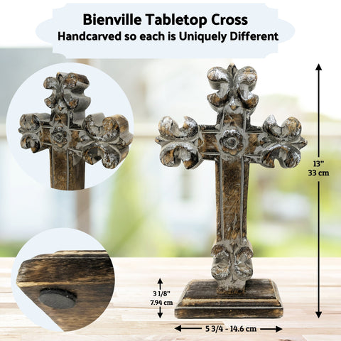 Standing Crosses for Table Decor | Handcarved Wood Cross | Religious / Christian Home Decor - Farmhouse World