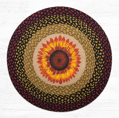 "Sunflower Round Rug Handwoven with 100% Natural Jute and Hand-Stenciled 27"" - Farmhouse World"