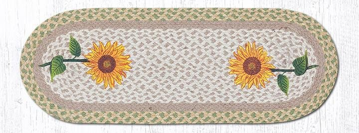 Sunflowers Braided Oval Table Runner - 100% Natural Jute and Hand Stenciled - Farmhouse World
