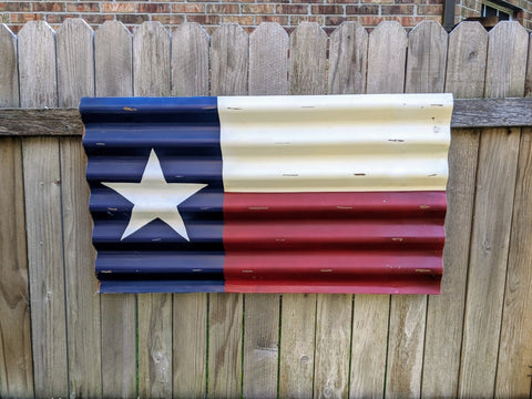 Image of Texas Decor | Metal Texas Flag Painted on Corrugated Metal with Vintage Distressed Look | Indoor or Outdoor Use - Farmhouse World