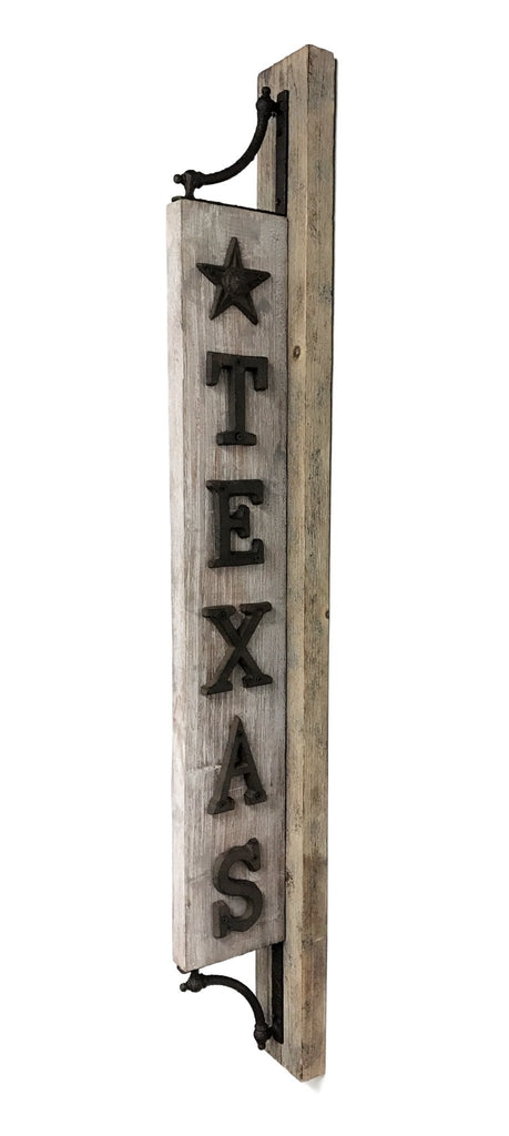 Texas Marquee Sign - Wood with Metal Letters and Star - Farmhouse World