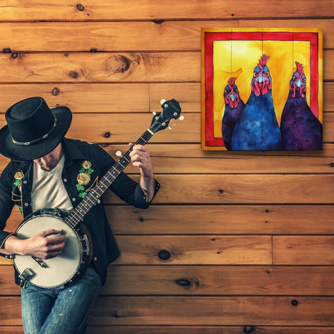 Image of The Girls Chicken Wall Art | Chicken Painting on Wood - Farmhouse World