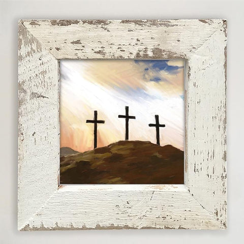 Three Crosses on a Hill Print with Barnwood Reclaimed Wood Frame Wall Art - Farmhouse World