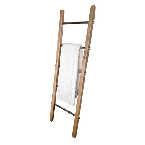 Towel Ladder Rack Wooden | Modern Farmhouse Blanket Ladder with Stainless Steel Rungs | Handcrafted 5 ft - Farmhouse World